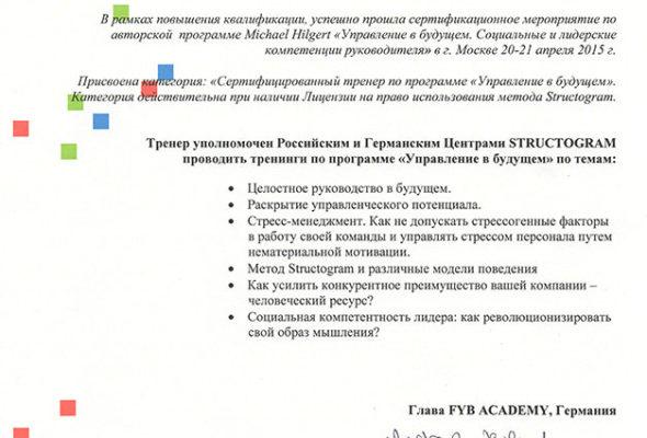 Сертификат Института биоструктурного анализа IBSA AG (Швейцария)